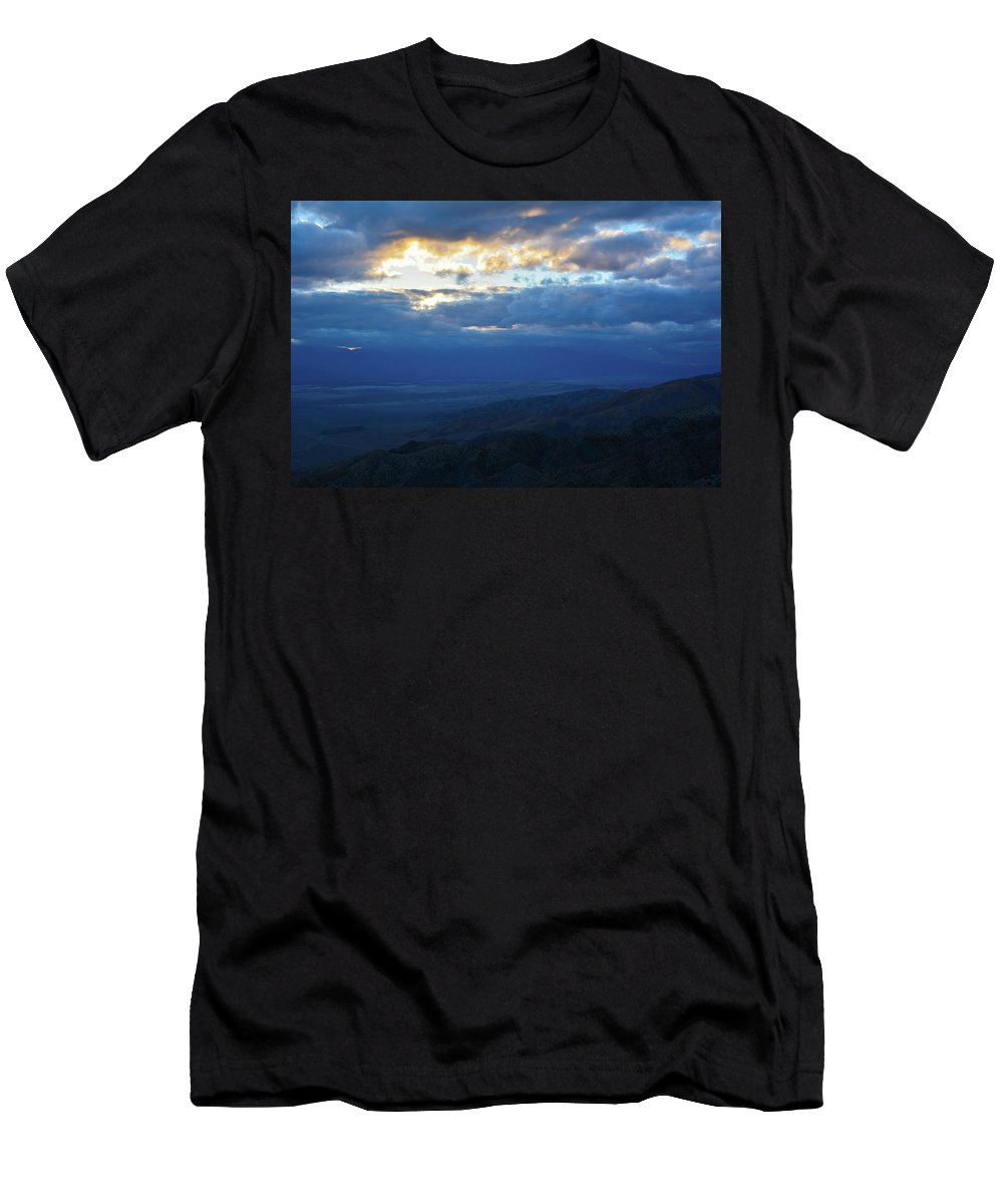 Joshua Tree Men's T-Shirt (Athletic Fit) featuring the photograph Keys View Sunset Landscape by Kyle Hanson