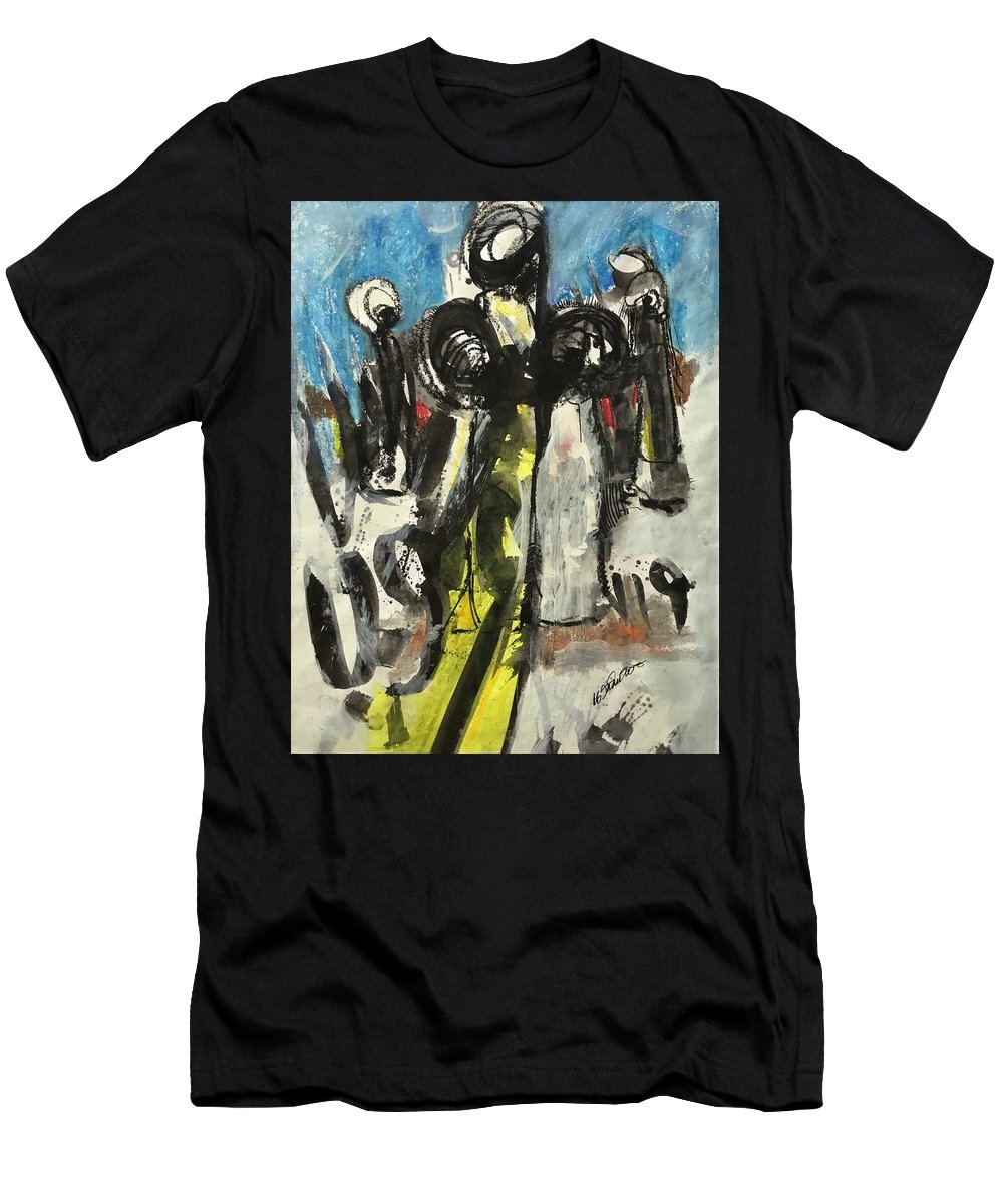 East African Men's T-Shirt (Athletic Fit) featuring the painting Khanam Worshiper by Mohamed-saeed Omer