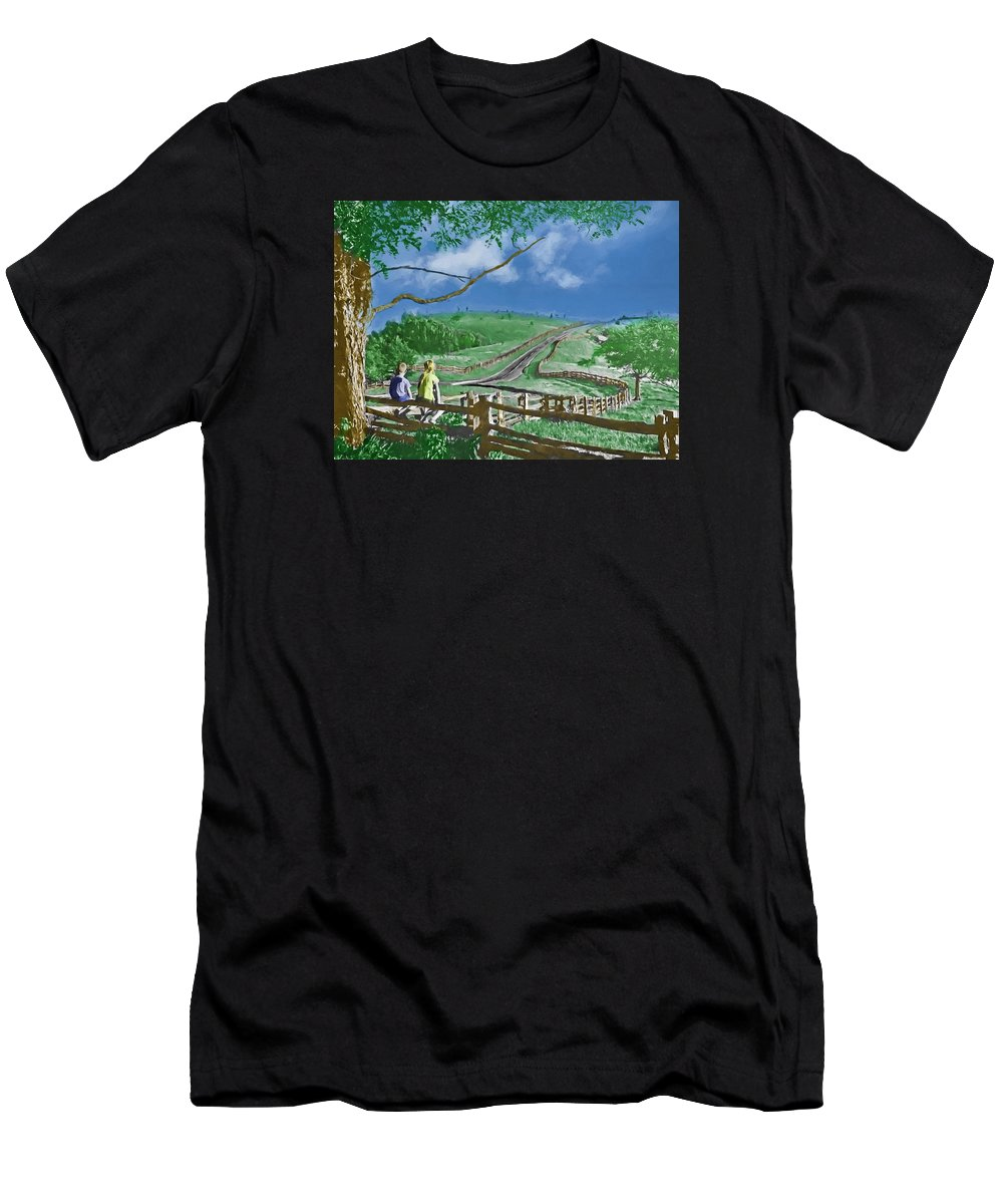 Kids Men's T-Shirt (Athletic Fit) featuring the digital art Kids On A Fence by John Haldane