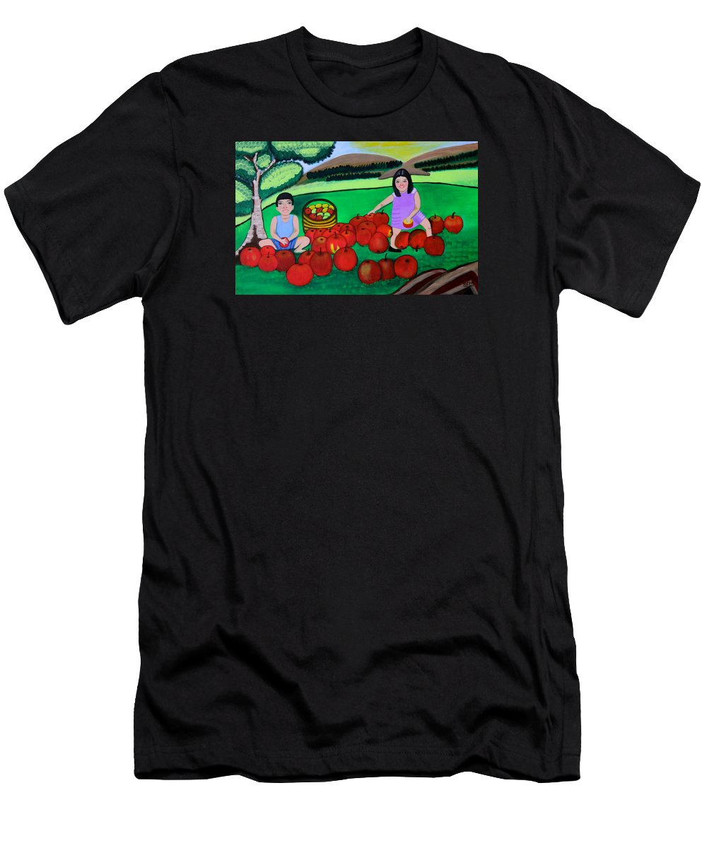 Designer Print Men's T-Shirt (Athletic Fit) featuring the painting Kids Playing And Picking Apples by Lorna Maza