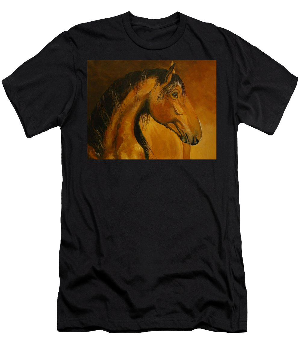 Acrylic Men's T-Shirt (Athletic Fit) featuring the painting Kiger Sunrise by Suzanne McKee