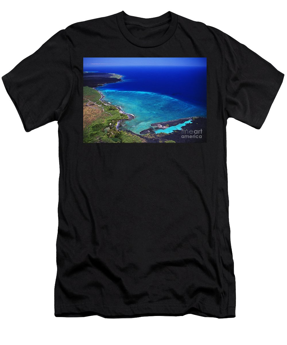 Above Men's T-Shirt (Athletic Fit) featuring the photograph Kiholo Bay Aerial by Peter French - Printscapes