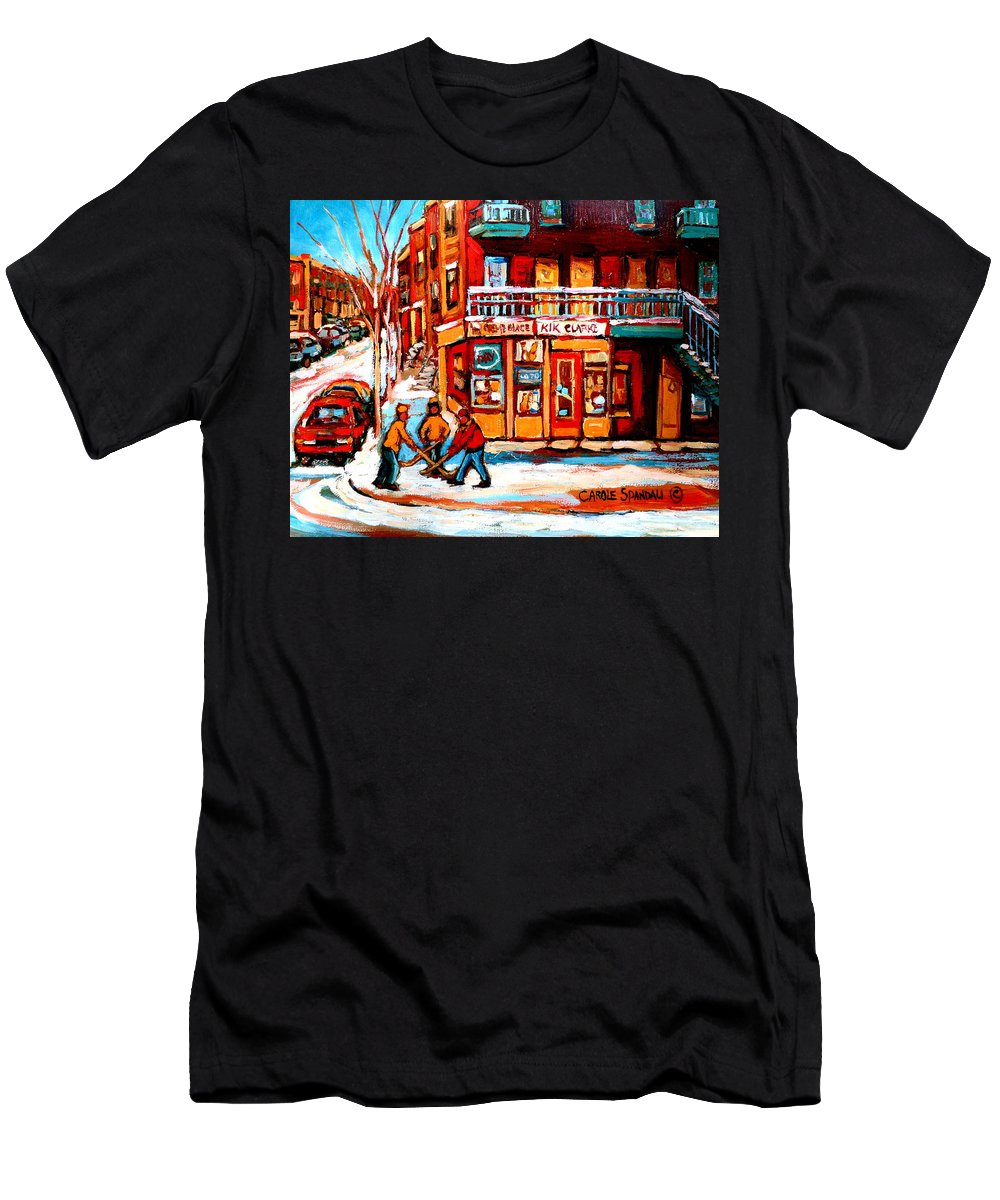 Montreal Streetscene Men's T-Shirt (Athletic Fit) featuring the painting Kik Cola Depanneur by Carole Spandau