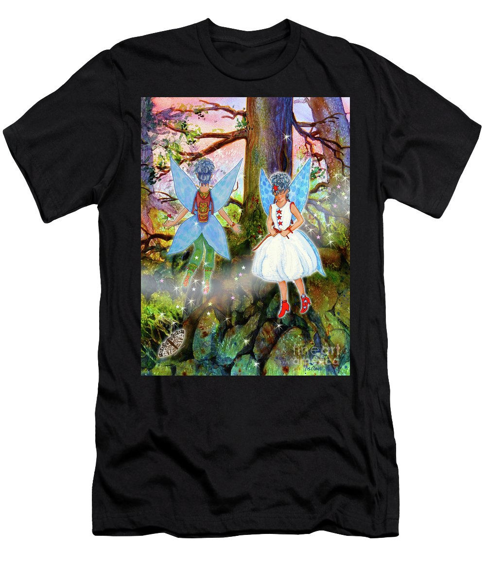 Kimlee And Kate Lorraine Men's T-Shirt (Athletic Fit) featuring the painting Kimlee And Kate Lorraine by Teresa Ascone