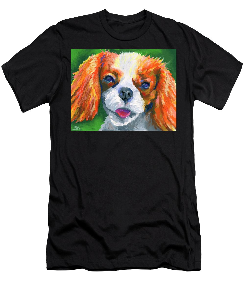 Dog Men's T-Shirt (Athletic Fit) featuring the painting King Charles by Stephen Anderson