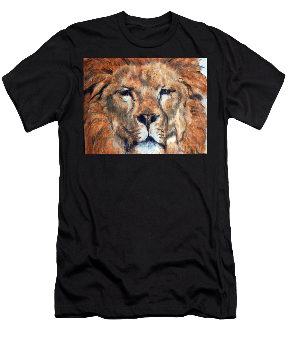 Lion Men's T-Shirt (Athletic Fit) featuring the painting King Lion by Maureen Murphy