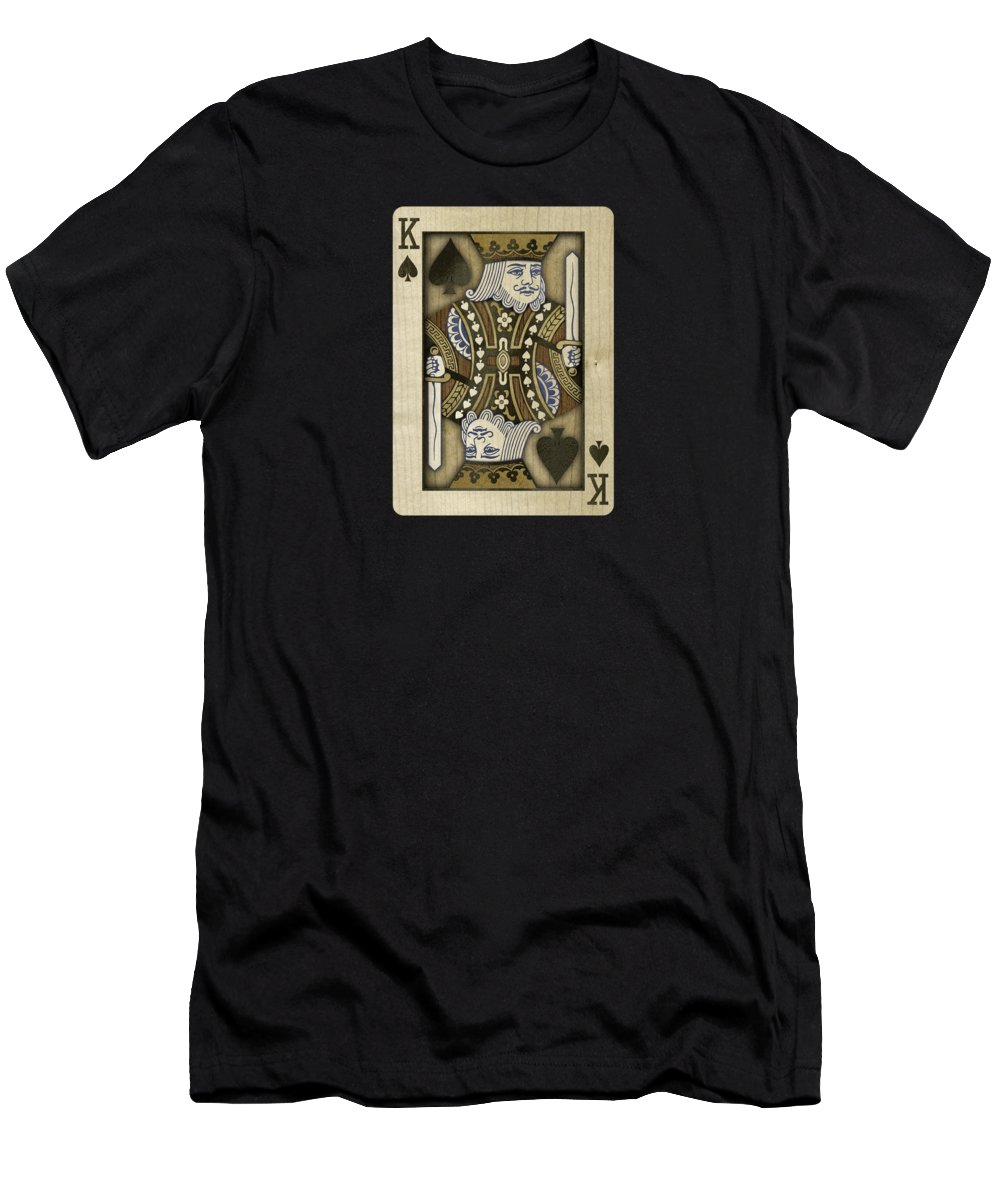 Black Men's T-Shirt (Athletic Fit) featuring the photograph King Of Spades In Wood by YoPedro