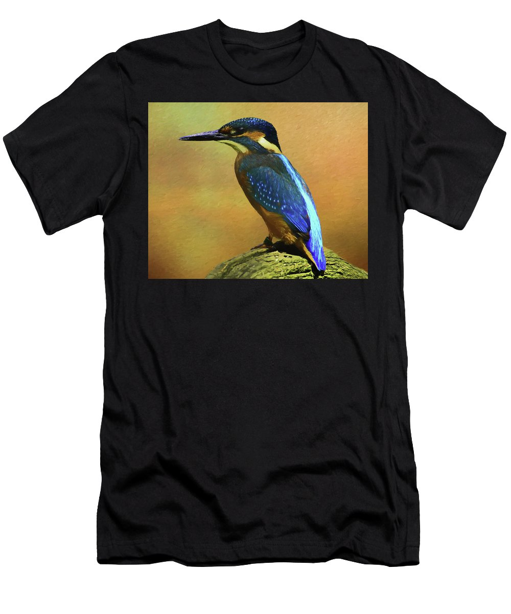 Alcedines Men's T-Shirt (Athletic Fit) featuring the digital art Kingfisher Perch by Roy Pedersen