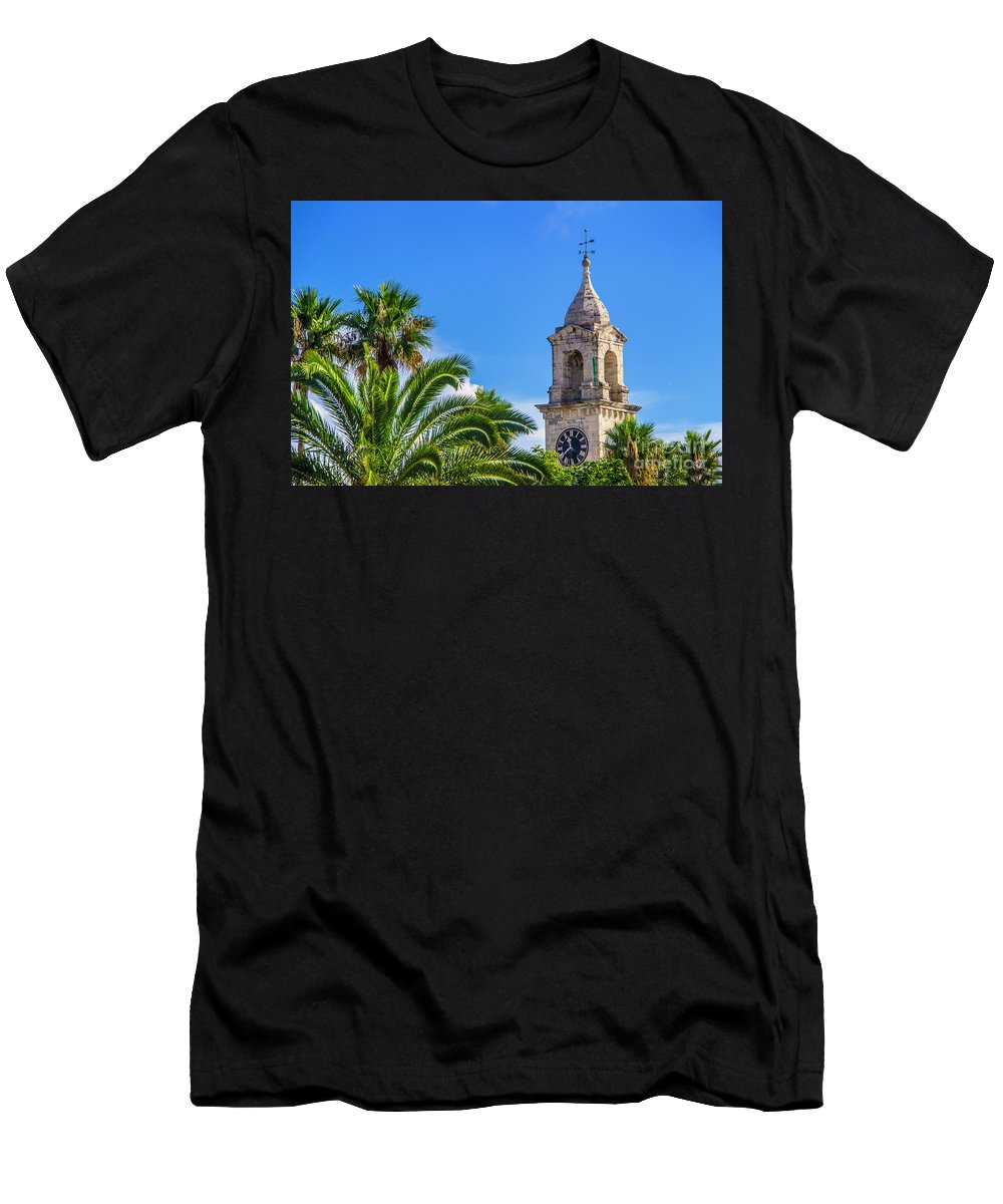 Clock Men's T-Shirt (Athletic Fit) featuring the photograph King's Wharf Clock by Roberta Bragan