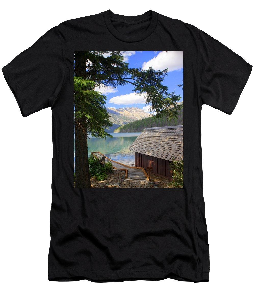 Glacier National Park Men's T-Shirt (Athletic Fit) featuring the photograph Kintla Lake Ranger Station Glacier National Park by Marty Koch