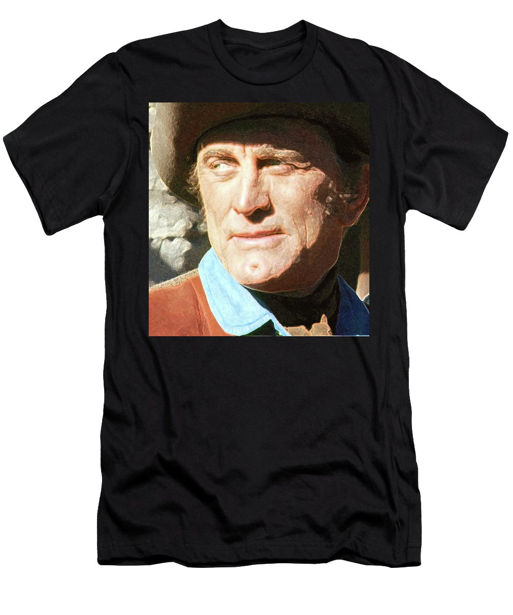 Kirk Douglas Old Tucson Arizona Number 3 In Color 1971-2008 Men's T-Shirt (Athletic Fit) featuring the photograph Kirk Douglas Old Tucson Arizona Number 3 In Color 1971-2008 by David Lee Guss