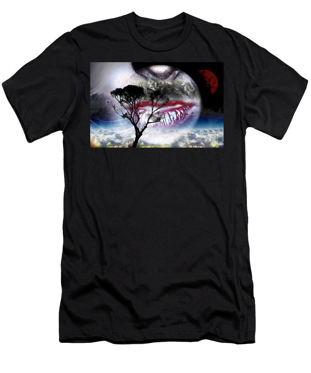 Kiss Men's T-Shirt (Athletic Fit) featuring the digital art Kiss Of The Moon by LDS Dya