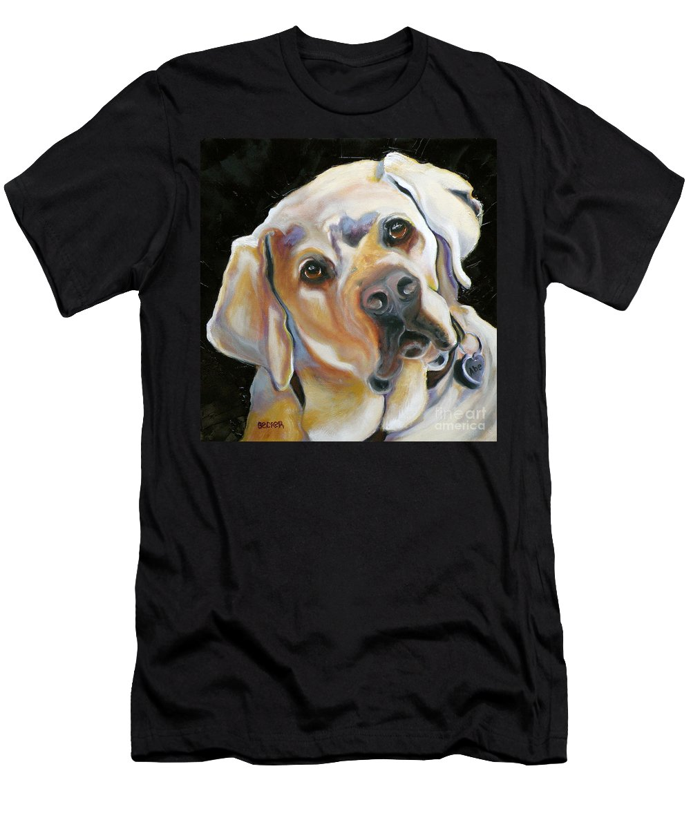 Yellow Lab Paintings Men's T-Shirt (Athletic Fit) featuring the painting Kissably Close Lab by Susan A Becker