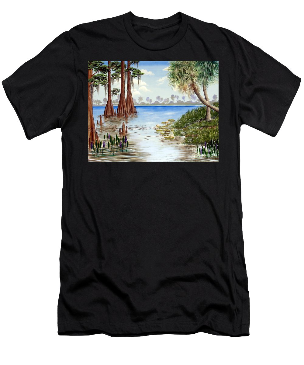 Nature Men's T-Shirt (Athletic Fit) featuring the painting Kissimee River Shore by Monica Turner