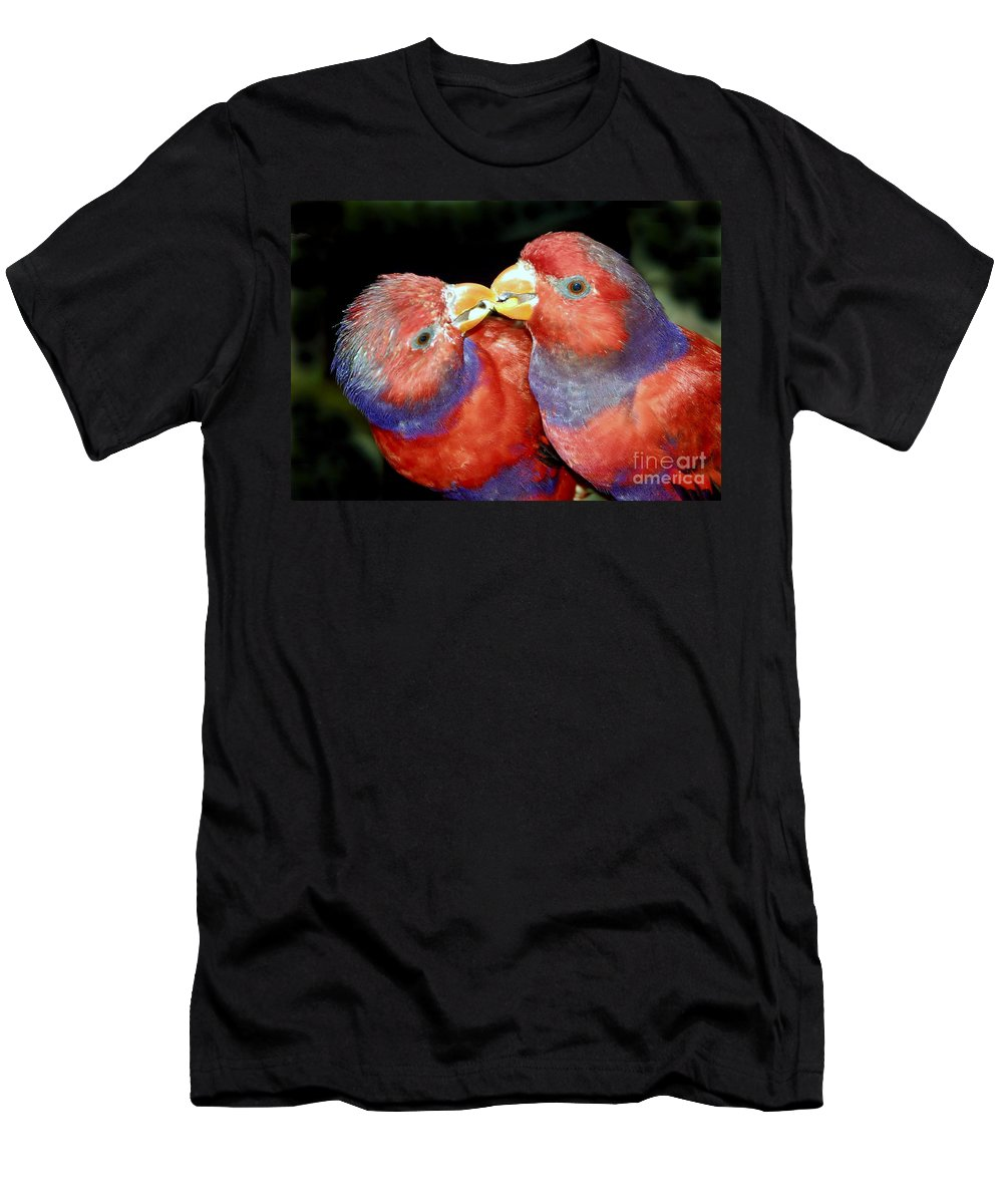 Kissing Men's T-Shirt (Athletic Fit) featuring the photograph Kissing Birds by David Lee Thompson