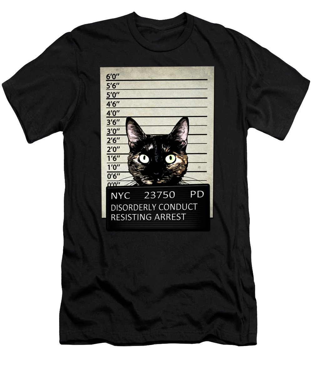 Cat Men's T-Shirt (Athletic Fit) featuring the mixed media Kitty Mugshot by Nicklas Gustafsson