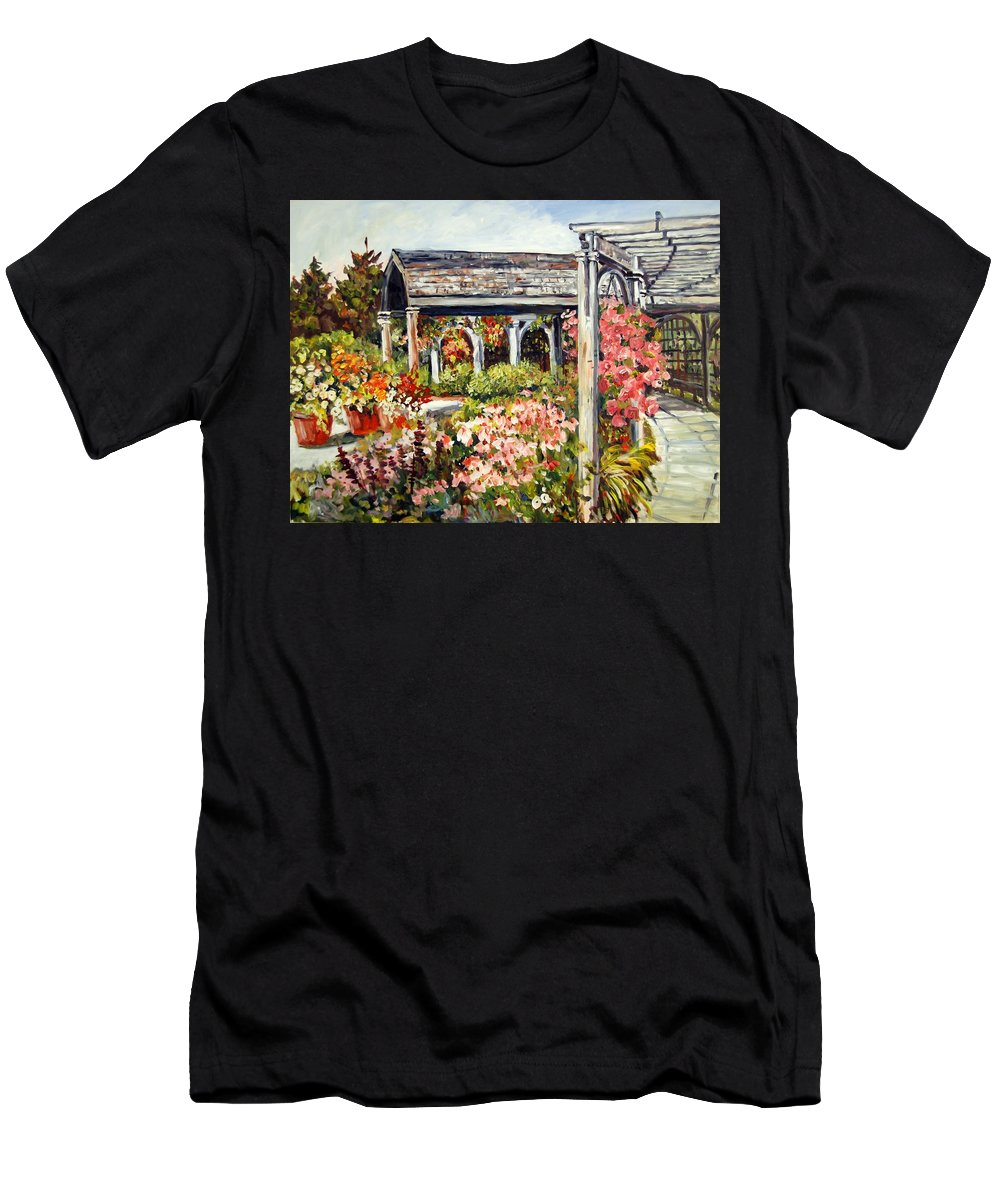 Landscape Men's T-Shirt (Athletic Fit) featuring the painting Klehm Arboretum I by Ingrid Dohm