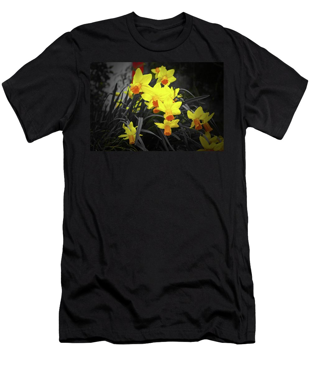 Daffodils Men's T-Shirt (Athletic Fit) featuring the photograph Klokkenspel by Douglas Barnard