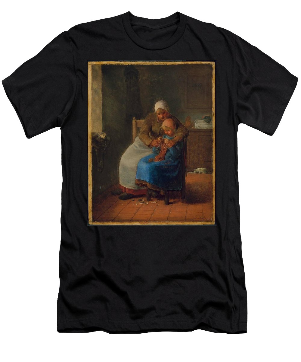 Knitting Lesson About 1860 Jean-fran�ois Millet (french Men's T-Shirt (Athletic Fit) featuring the painting Knitting Lesson by MotionAge Designs
