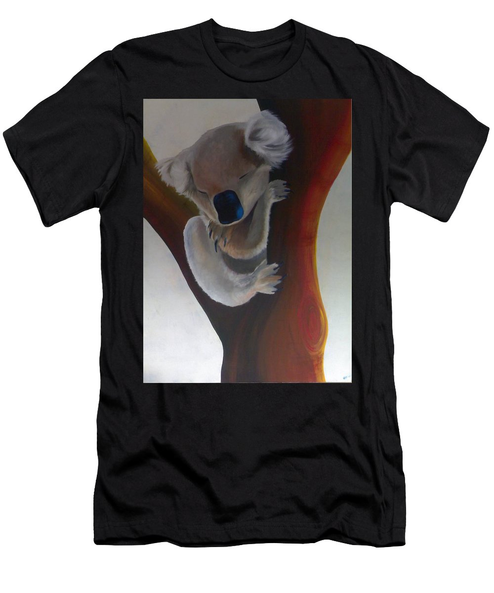 Koala Men's T-Shirt (Athletic Fit) featuring the painting Koala by Catt Kyriacou