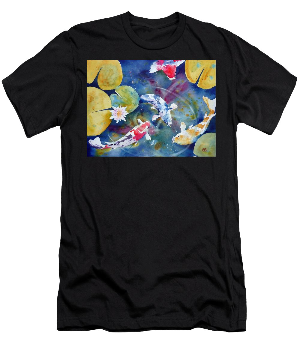 Watercolor Men's T-Shirt (Athletic Fit) featuring the painting Koi And Waterlily Flower by Andre MEHU