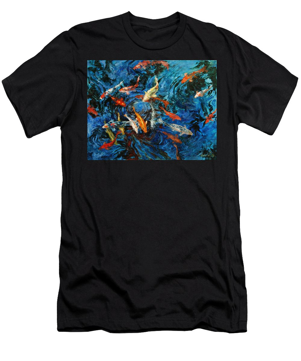 Koi Men's T-Shirt (Athletic Fit) featuring the painting Koi IIi by Rick Nederlof