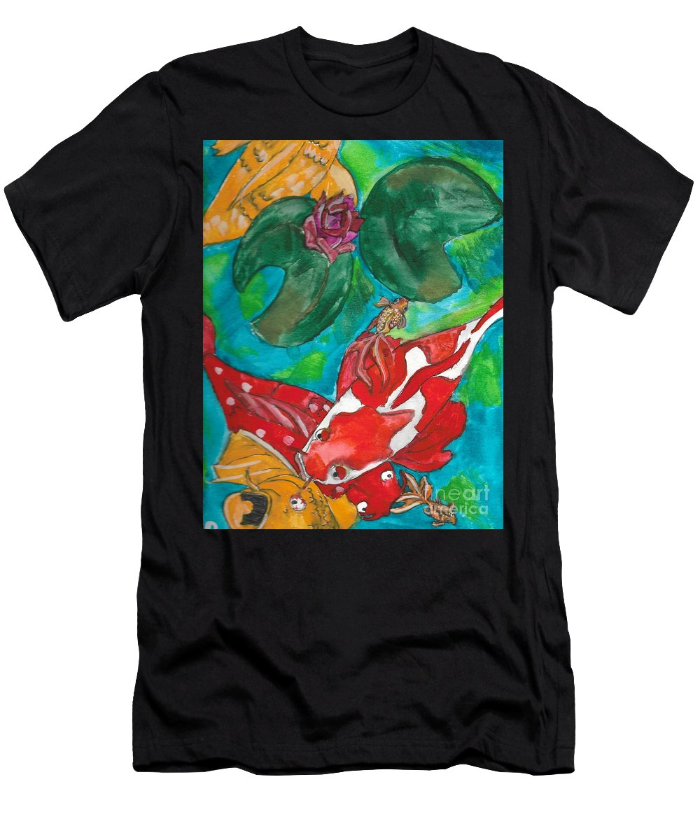 Koi Pond Men's T-Shirt (Athletic Fit) featuring the painting Koi Pond by Hanna Szafranski