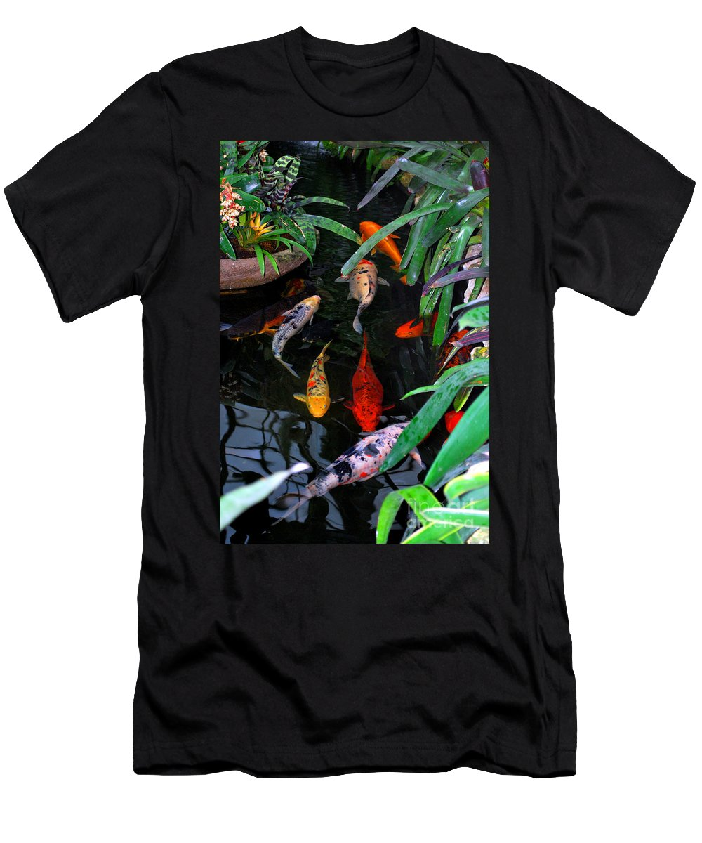 Koi Men's T-Shirt (Athletic Fit) featuring the photograph Koi Pond by Nancy Mueller