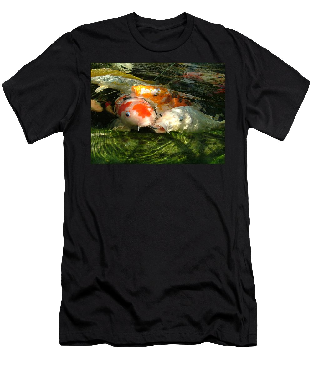 Koi Men's T-Shirt (Athletic Fit) featuring the photograph Koi Ripples by Heather Lennox