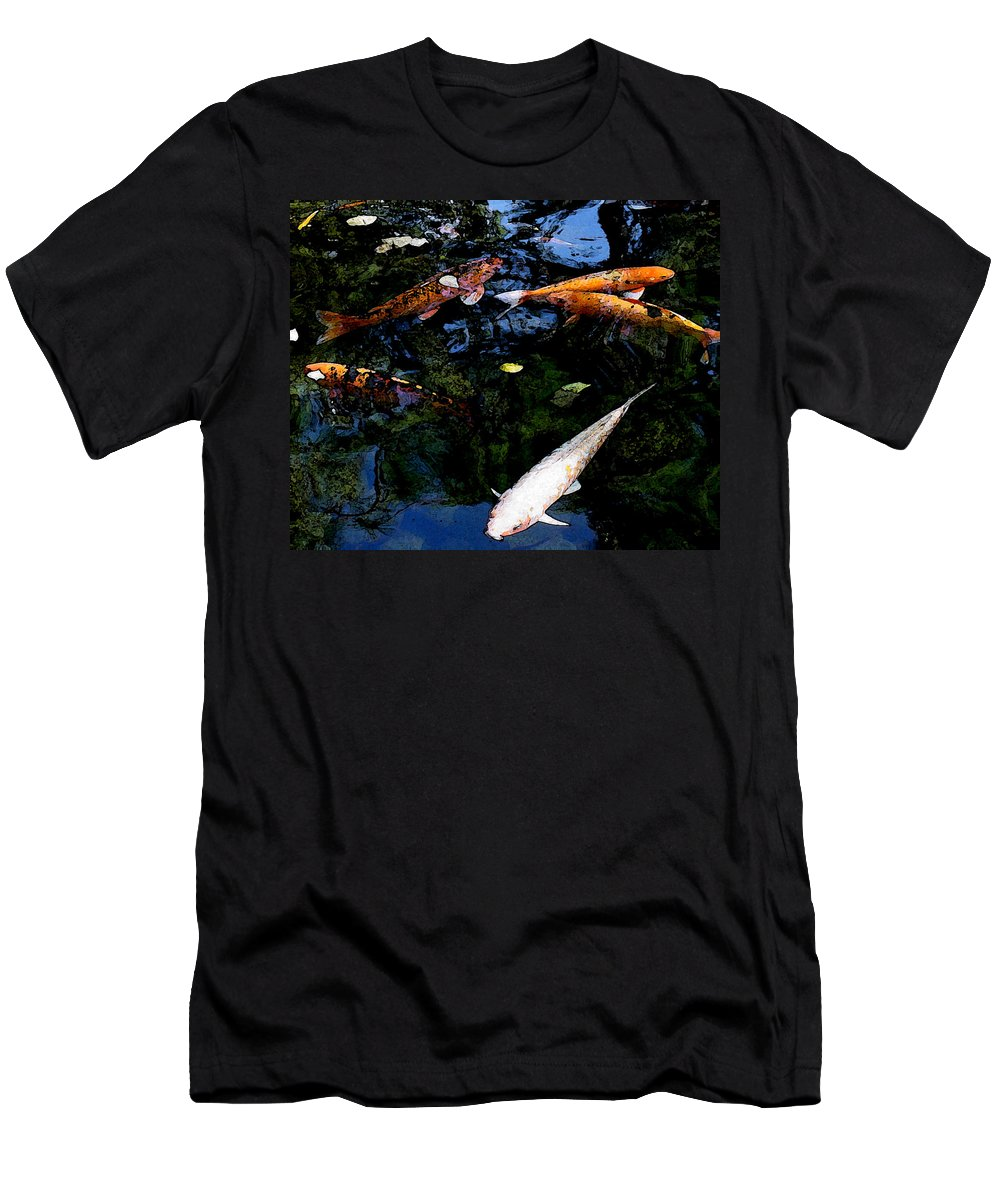 Koi Men's T-Shirt (Athletic Fit) featuring the mixed media Koi Swimming - Dsc00023 by Shirley Heyn