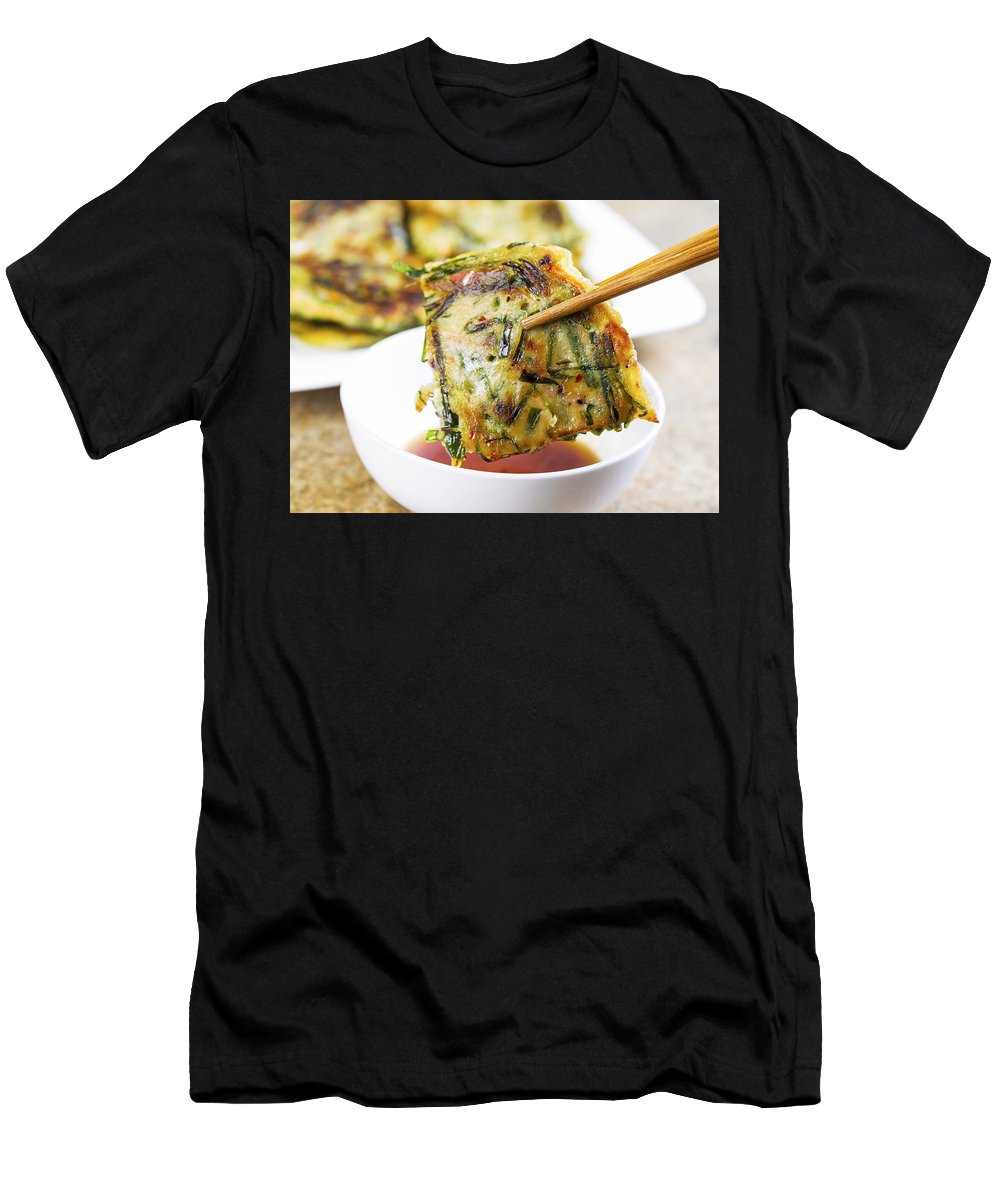 Asian Men's T-Shirt (Athletic Fit) featuring the photograph Korean Green Onion Pancakes Ready To Eat by Thomas Baker