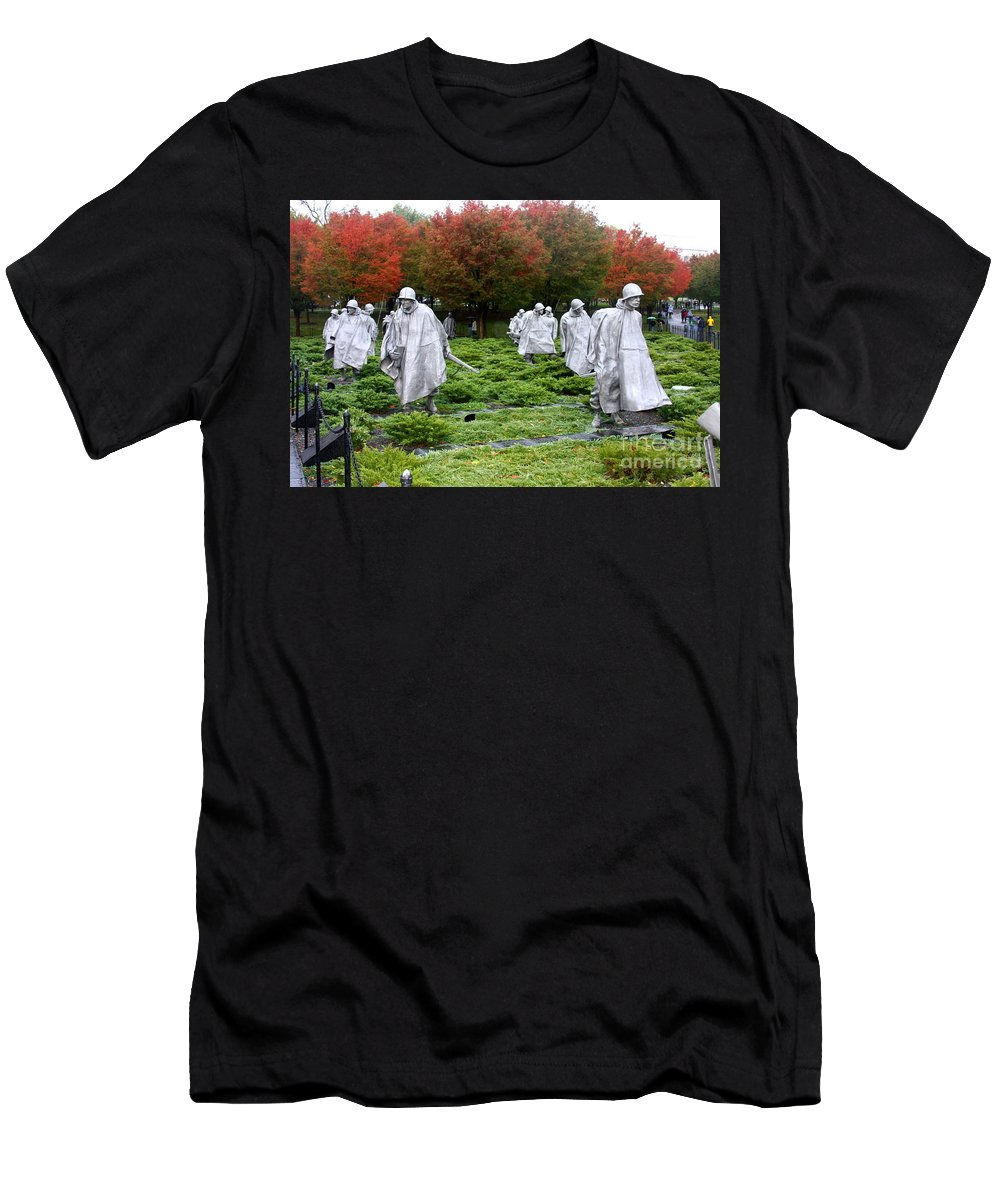 This Is A Photo Of The Korean War Memorial In Washington D.c. Men's T-Shirt (Athletic Fit) featuring the photograph Korean War Memorial by William Rogers