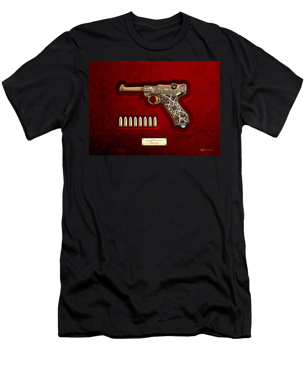 The Armory By Serge Averbukh Men's T-Shirt (Athletic Fit) featuring the photograph Krieghoff Presentation P.08 Luger by Serge Averbukh