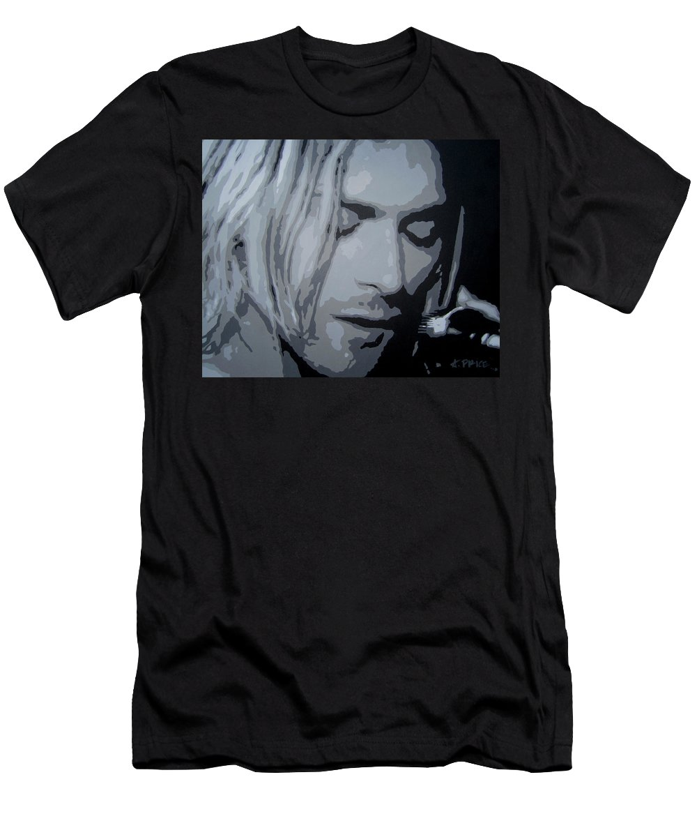 Pop Art Paintings Men's T-Shirt (Athletic Fit) featuring the painting Kurt Cobain by Ashley Lane