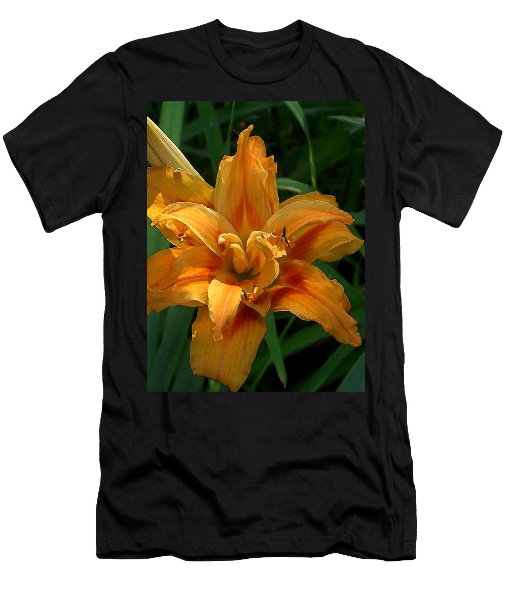 Daylily Men's T-Shirt (Athletic Fit) featuring the photograph Kwanzaa Lily Watercolor by Carolyn Jacob