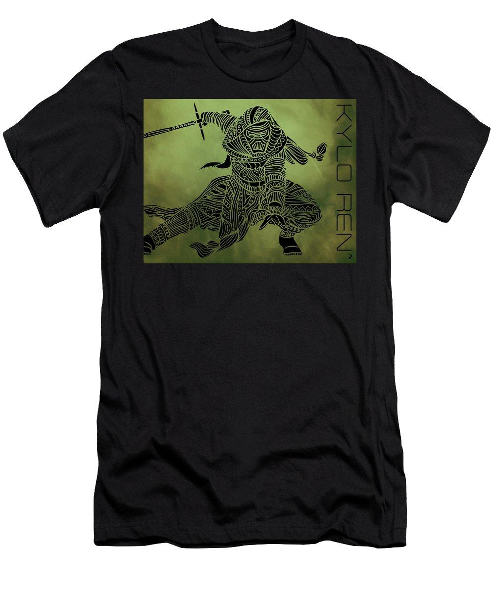 Kylo Ren T-Shirt featuring the mixed media Kylo Ren - Star Wars Art by Studio Grafiikka