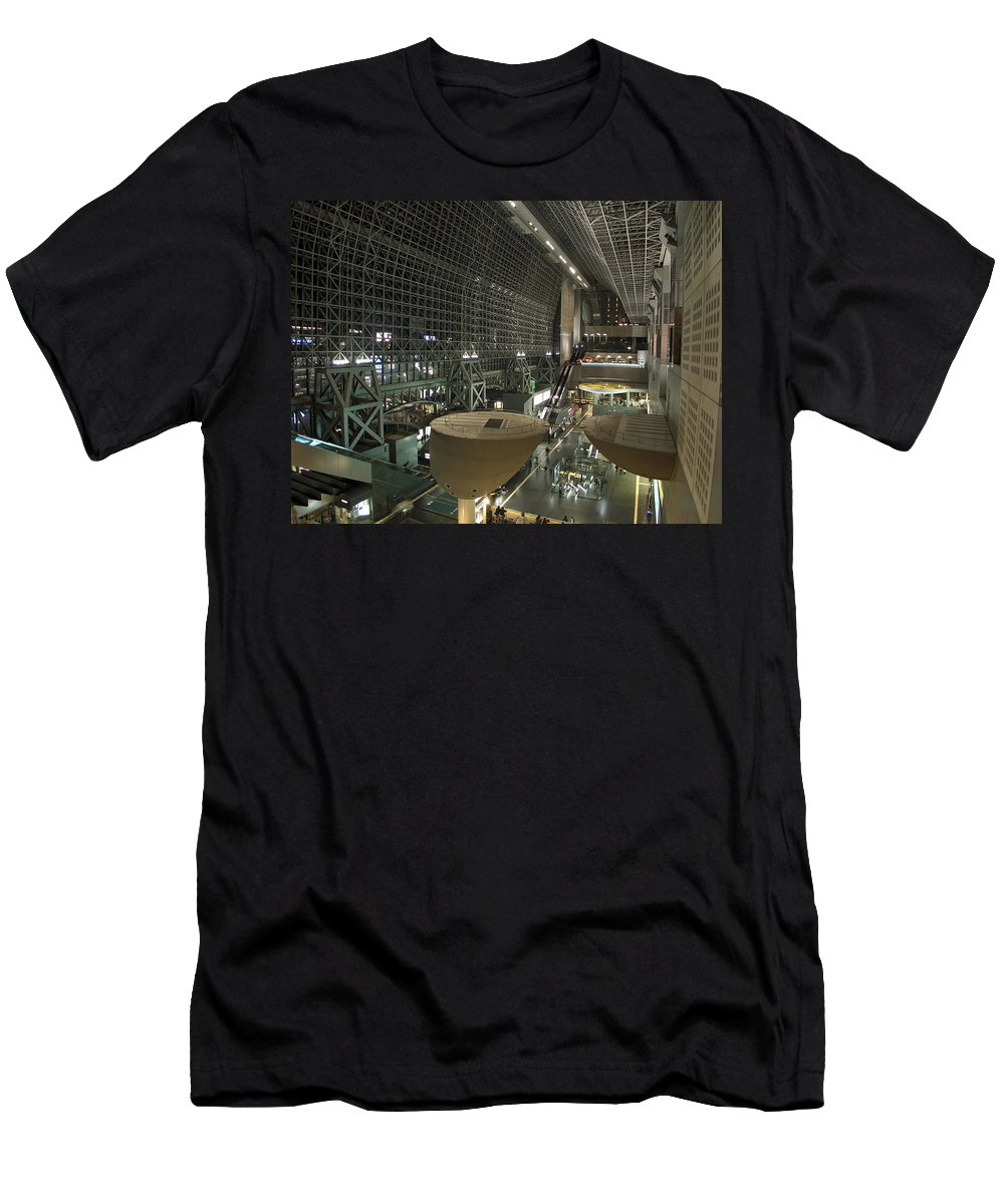 Kyoto Men's T-Shirt (Athletic Fit) featuring the photograph Kyoto Main Train Station - Japan by Daniel Hagerman