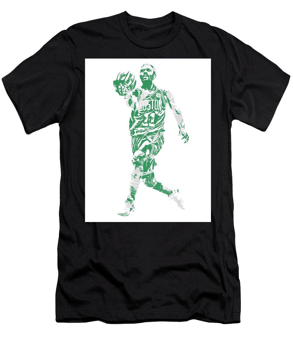 Kyrie Irving Men's T-Shirt (Athletic Fit) featuring the mixed media Kyrie Irving Boston Celtics Pixel Art 43 by Joe Hamilton