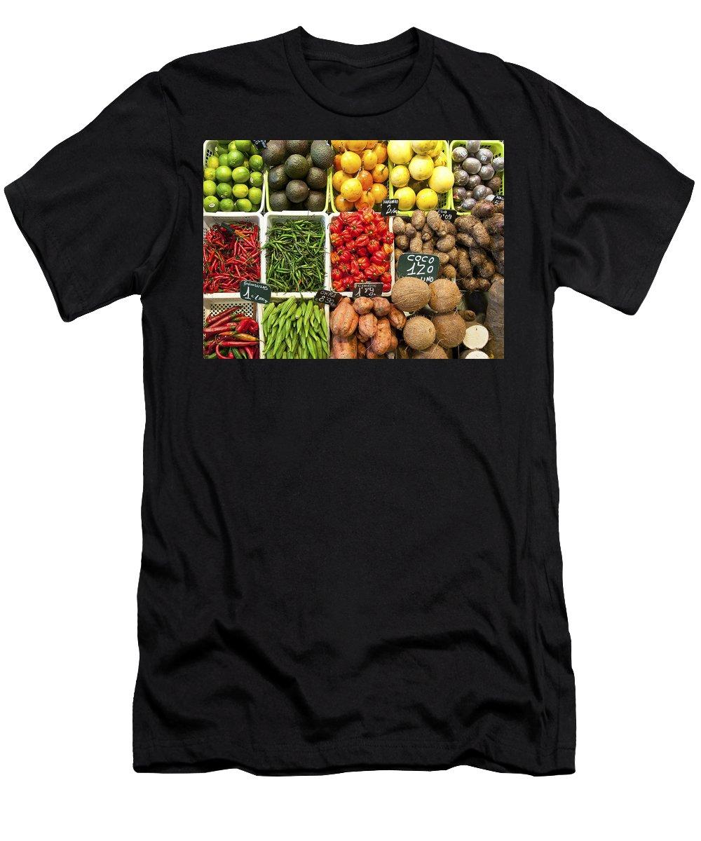 La Baqueria Men's T-Shirt (Athletic Fit) featuring the photograph La Boqueria Produce by Steven Sparks
