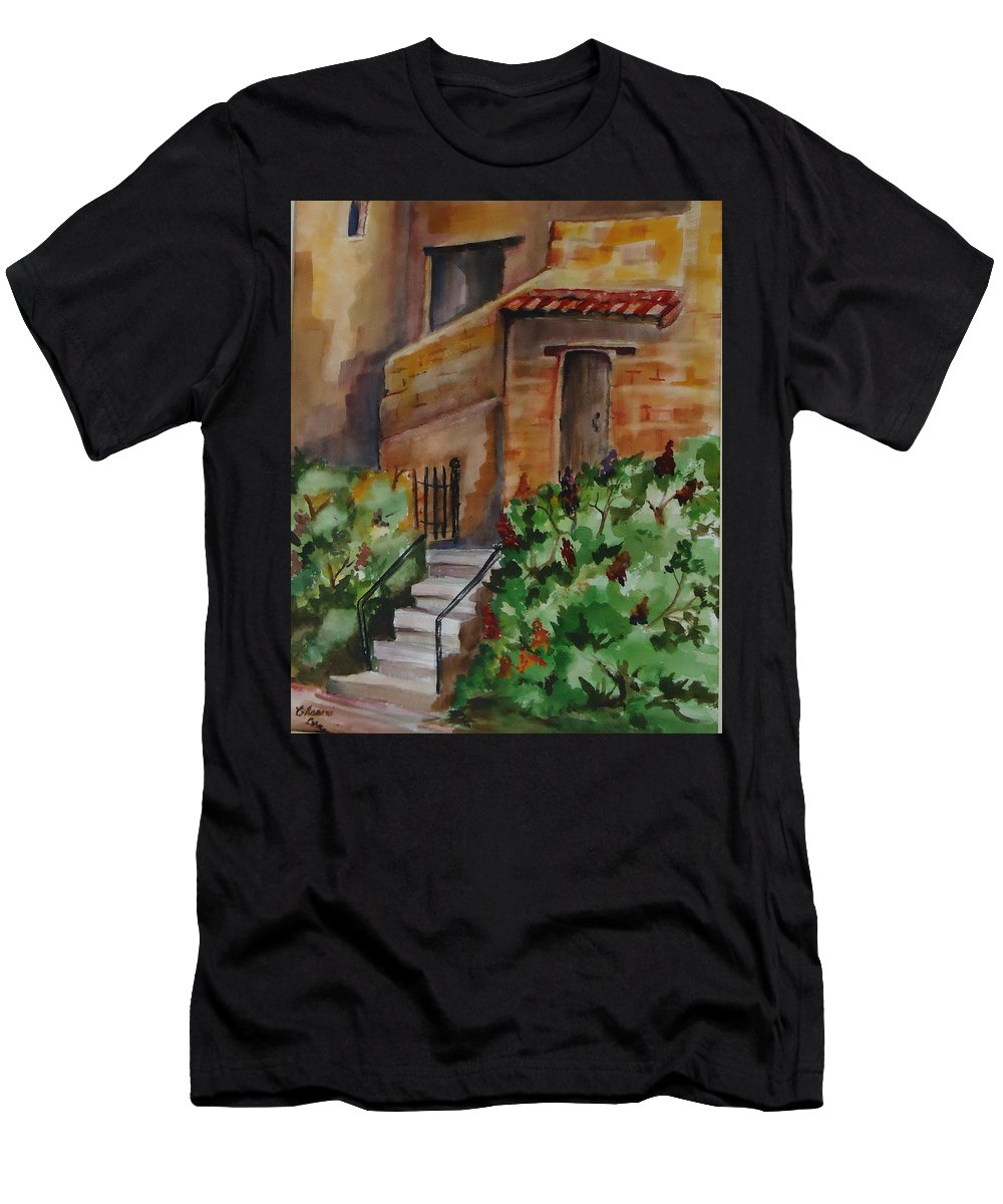 Warm Colors Int The Adobe And Flowers Make This A Perfect Place To Take A Siesta. City Scape Men's T-Shirt (Athletic Fit) featuring the painting La Casitas by Charme Curtin