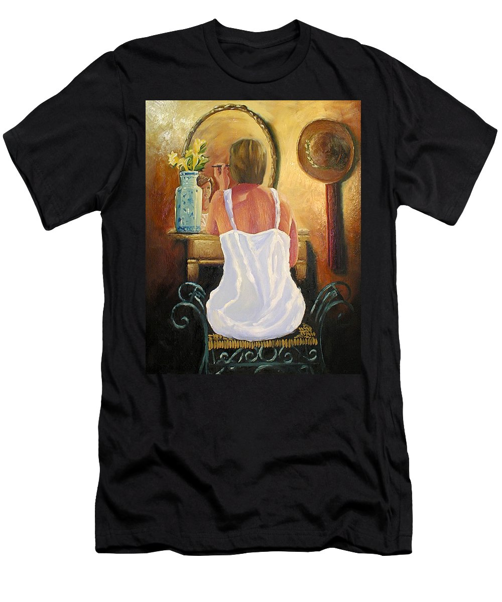 People Men's T-Shirt (Athletic Fit) featuring the painting La Coqueta by Arturo Vilmenay
