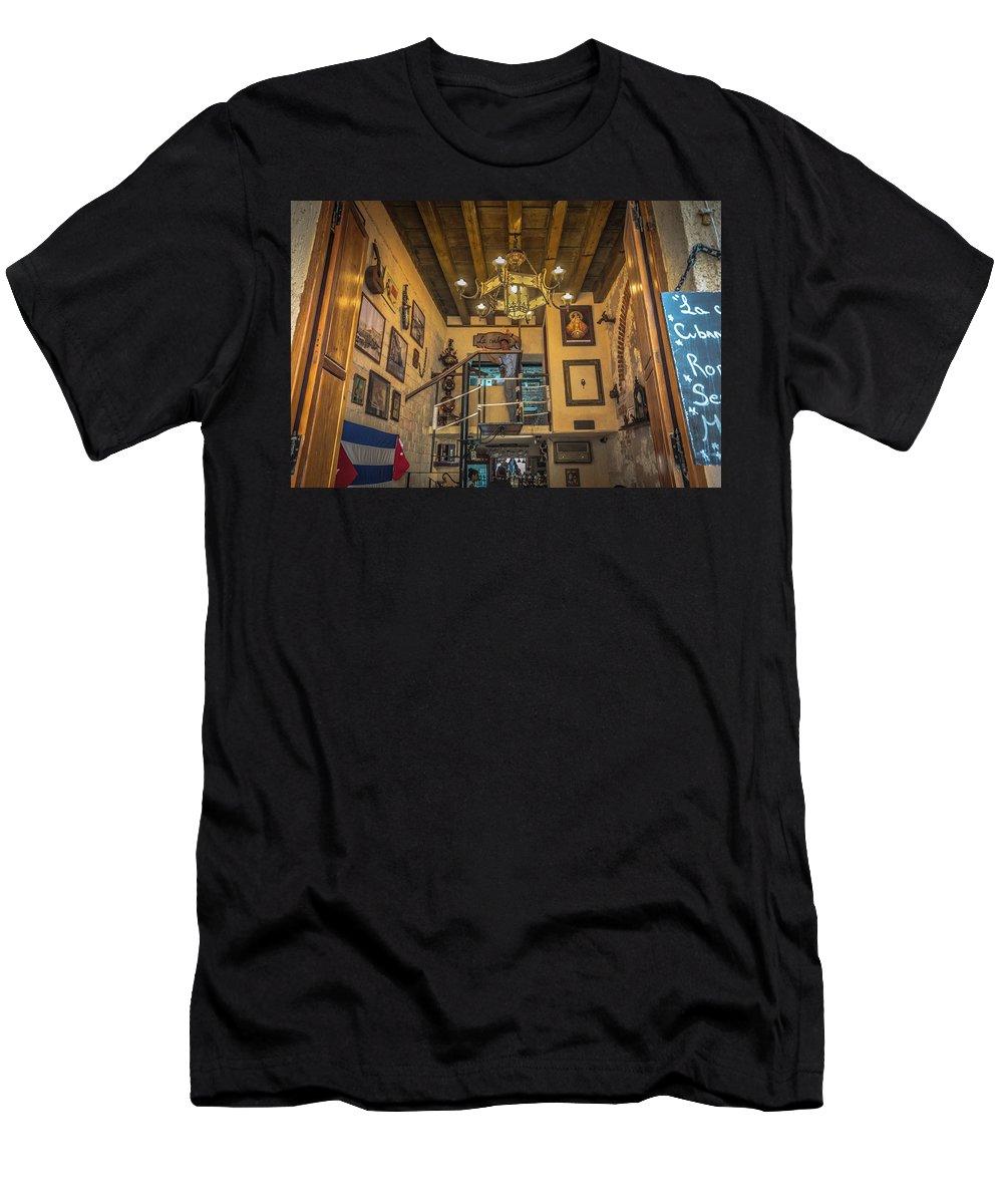 Havana Men's T-Shirt (Athletic Fit) featuring the photograph La Cubana Restaurant by Bill Howard