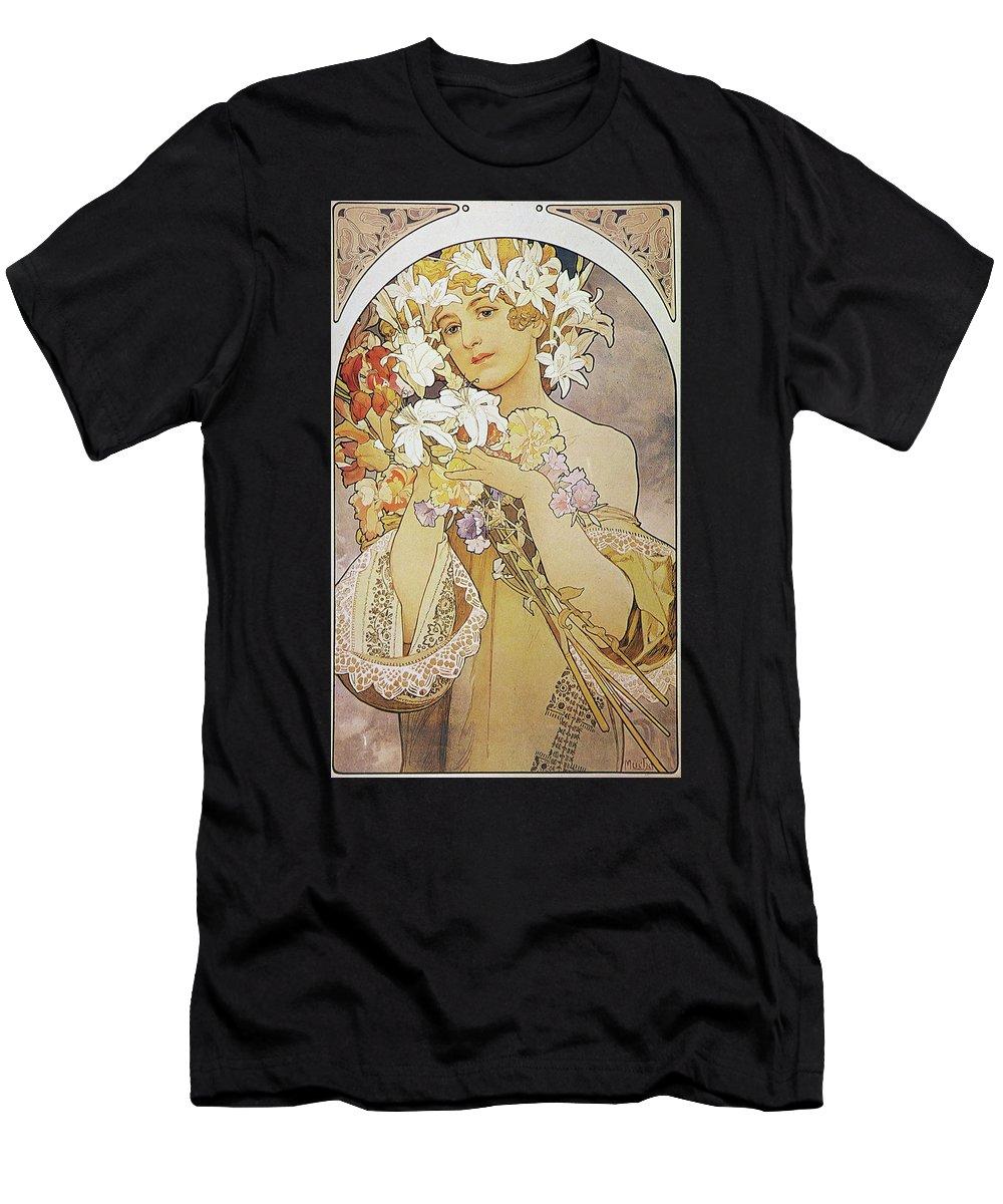 Girl T-Shirt featuring the painting La Fleurflowers by Alphonse Mucha
