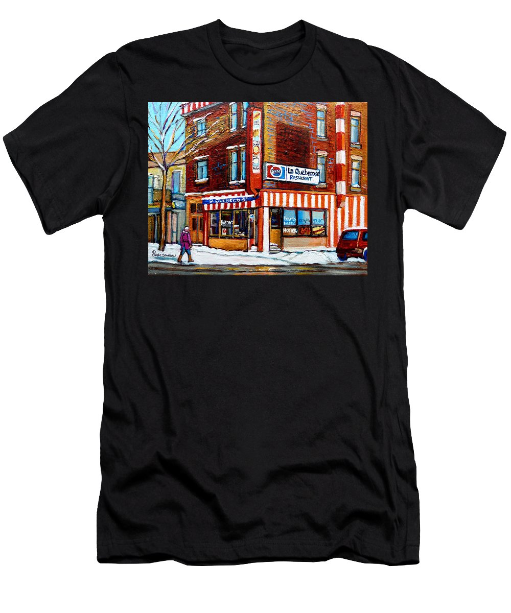 La Quebecoise Restaurant Men's T-Shirt (Athletic Fit) featuring the painting La Quebecoise Restaurant Montreal by Carole Spandau