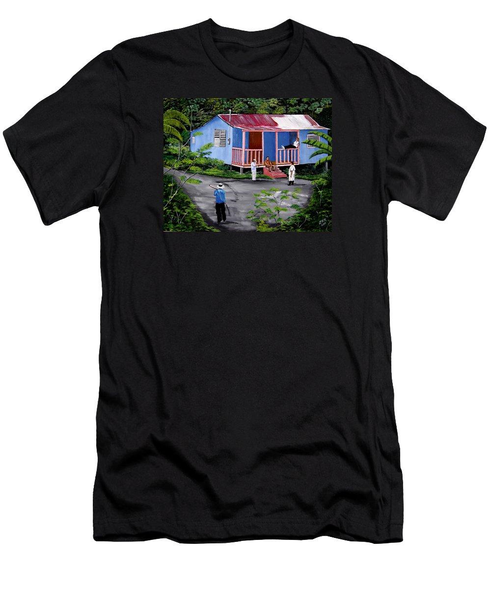 Campo Men's T-Shirt (Athletic Fit) featuring the painting La Vida En Las Montanas De Moca by Luis F Rodriguez