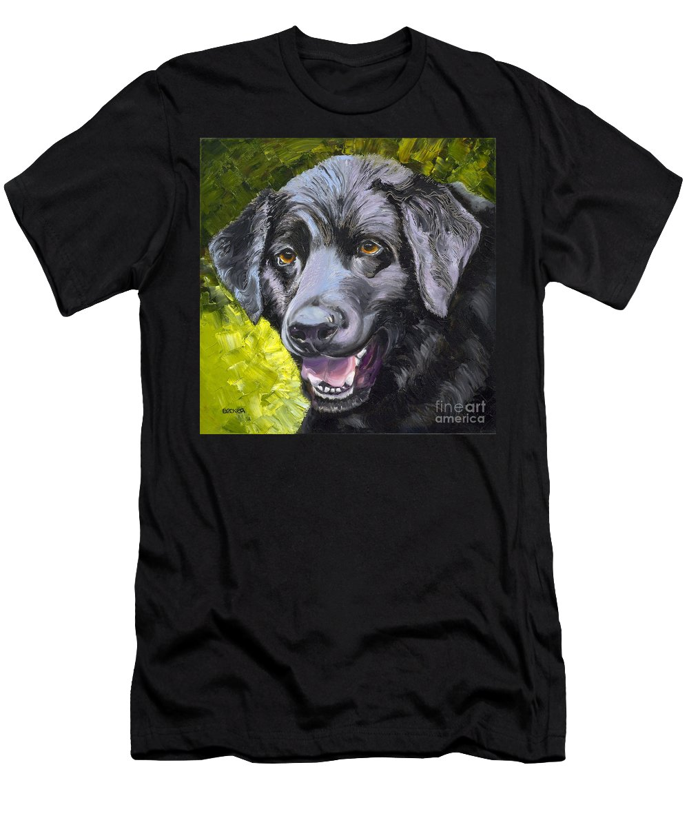 Labrador Retriever Men's T-Shirt (Athletic Fit) featuring the painting Lab Out Of The Pond by Susan A Becker