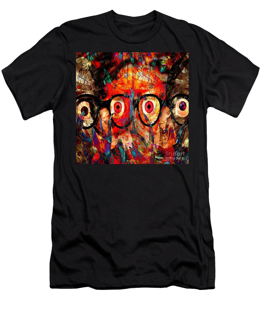 Fania Simon Men's T-Shirt (Athletic Fit) featuring the mixed media Label The Brain Through The Eyes - Lords Of Madness by Fania Simon