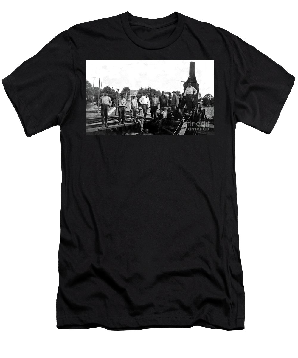 Laborers Men's T-Shirt (Athletic Fit) featuring the photograph Laborers 1920s by Sad Hill - Bizarre Los Angeles Archive