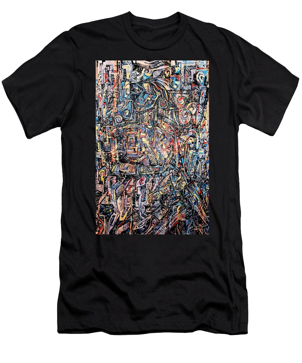 Surrealism Men's T-Shirt (Athletic Fit) featuring the painting Labyrinth Of Sorrows by Darwin Leon