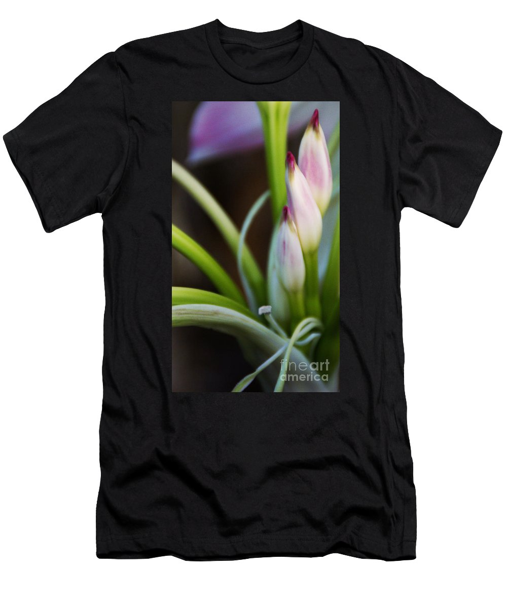 Flower Men's T-Shirt (Athletic Fit) featuring the photograph Laced In Satin by Linda Shafer